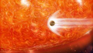 Fantáziakép egy barna törpe tragikus sorsáról egy vörös óriás közelében. (Forrás: www.hubblesite.org)