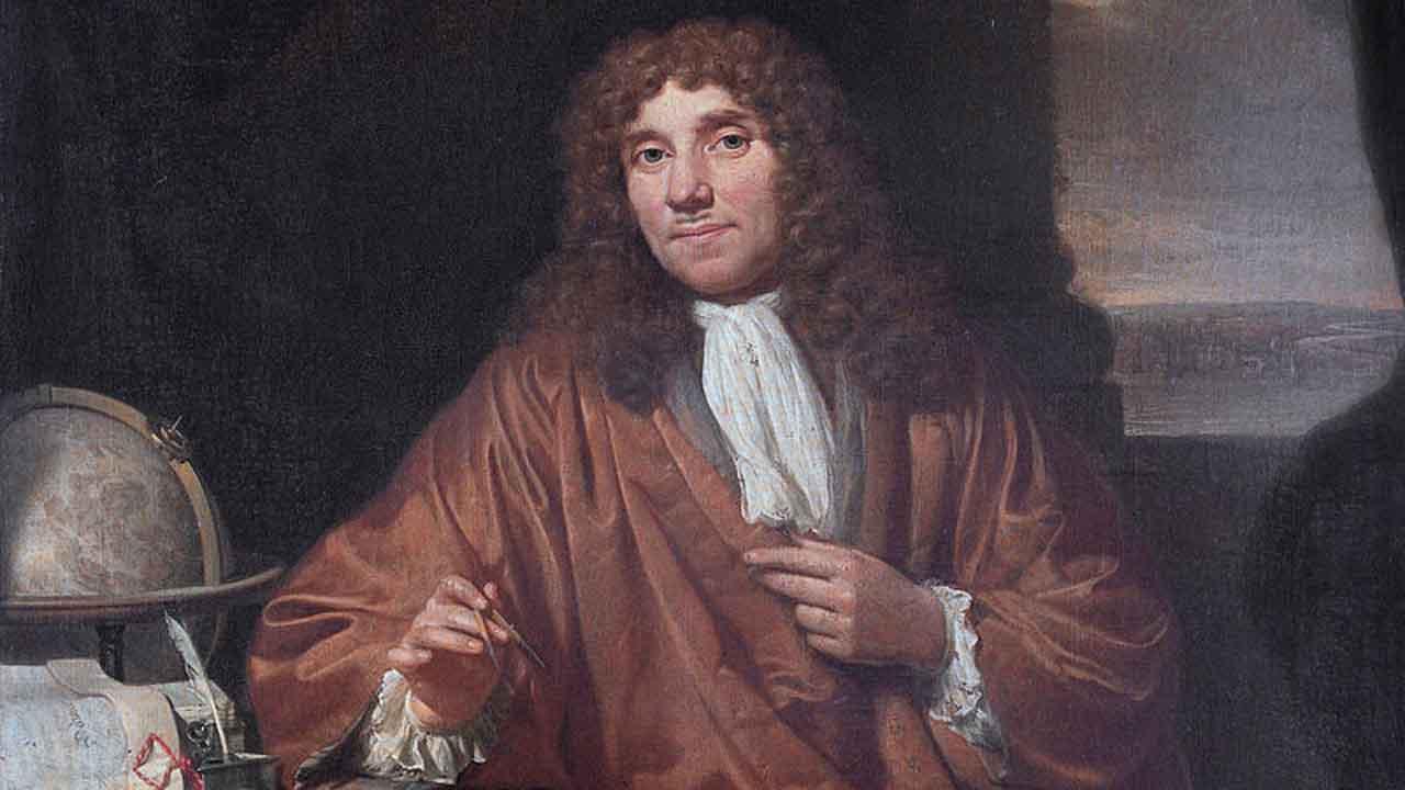 Anton van Leeuwenhoek zoológus Jan Verkolje festményén