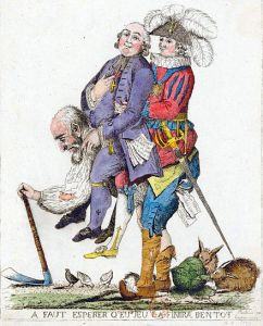 A papságot és a nemességet a hátán cipelő harmadik rend - francia politikai karikatúra az 1790-es évekből