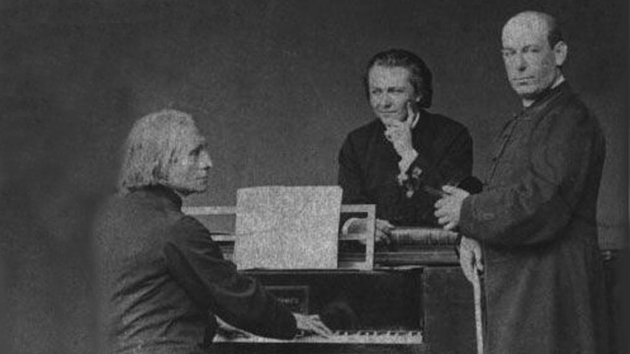 Liszt Ferenc, a tanítvány Plotényi Nándor és Reményi Ede (Liszt Ferenc Emlékmúzeum tulajdona)