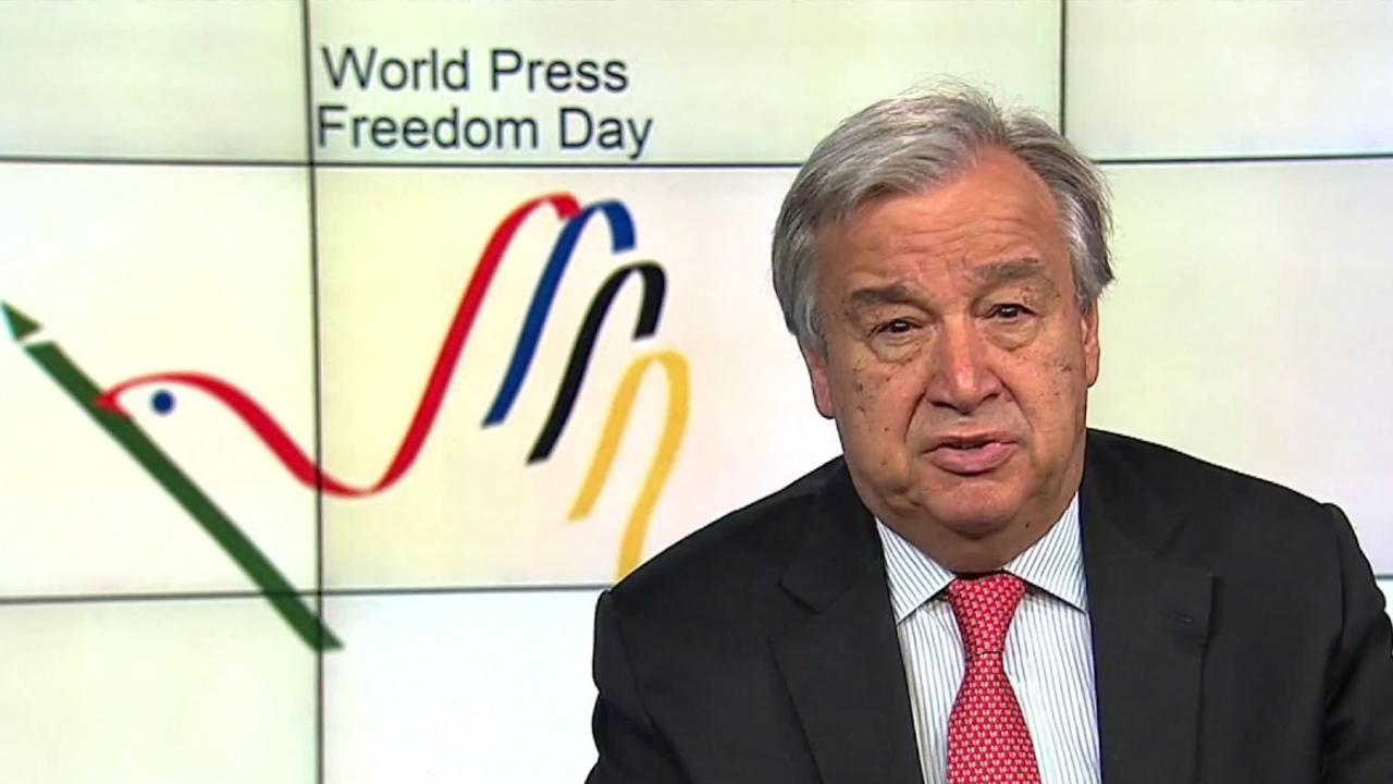 António Guterres ENSZ-főtitkár: Videóüzenete a sajtószabadság világnapján 2018. május 3.