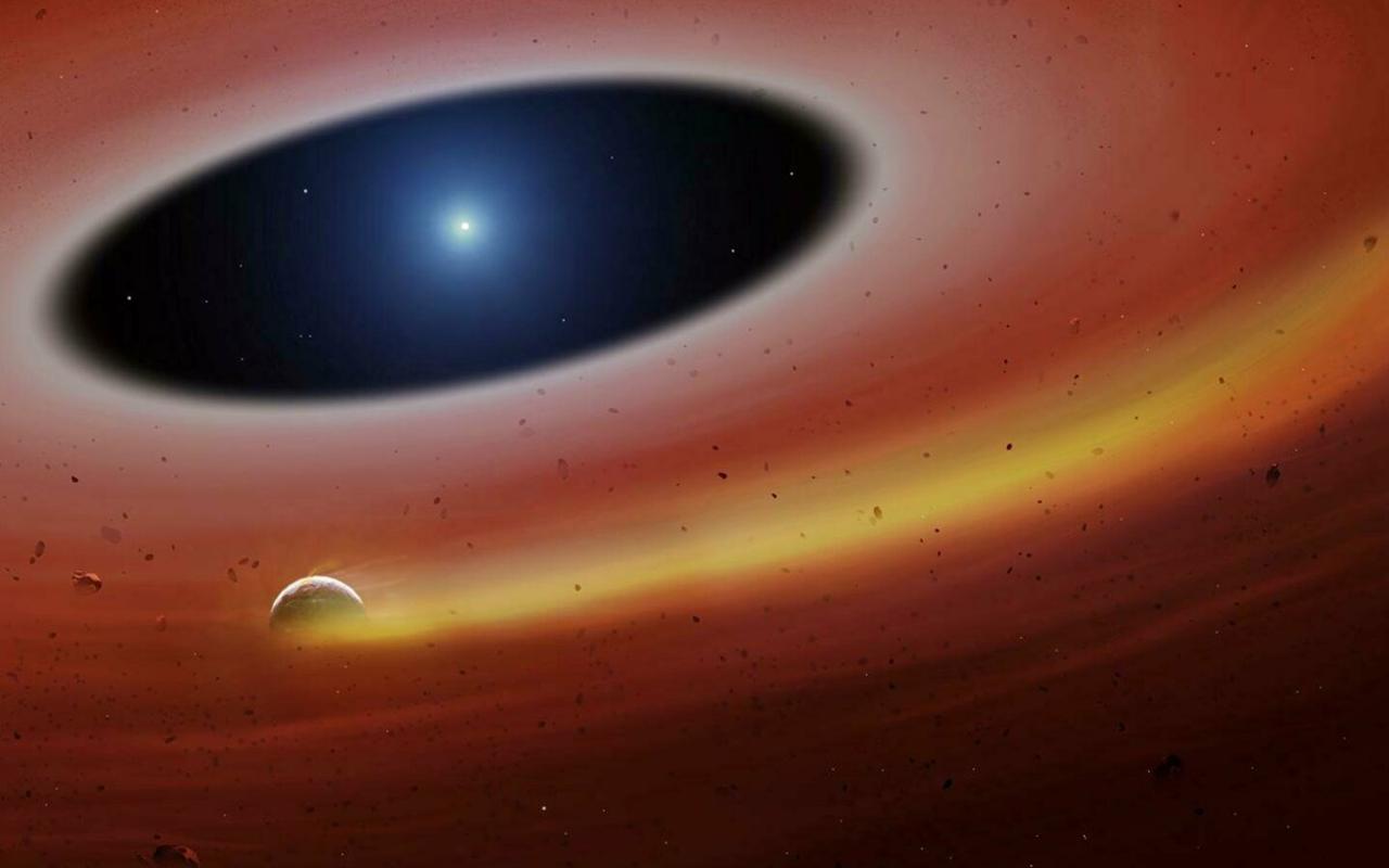 Fantáziarajz a fehér törpe körül keringő porgyűrűről University of Warwick/Mark Garlick