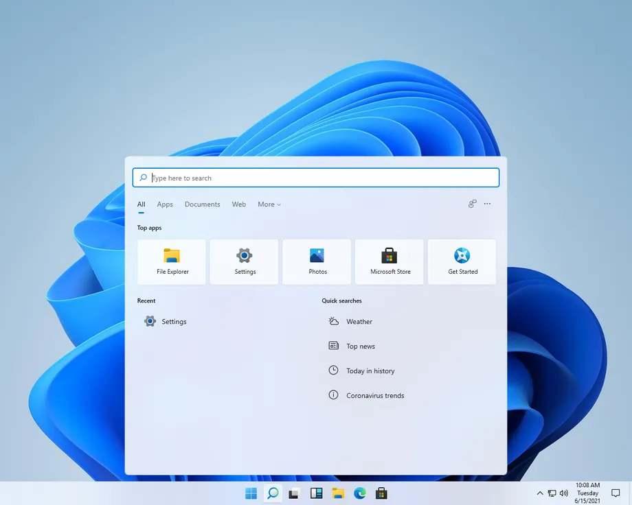 A Windows 11 keresési felülete