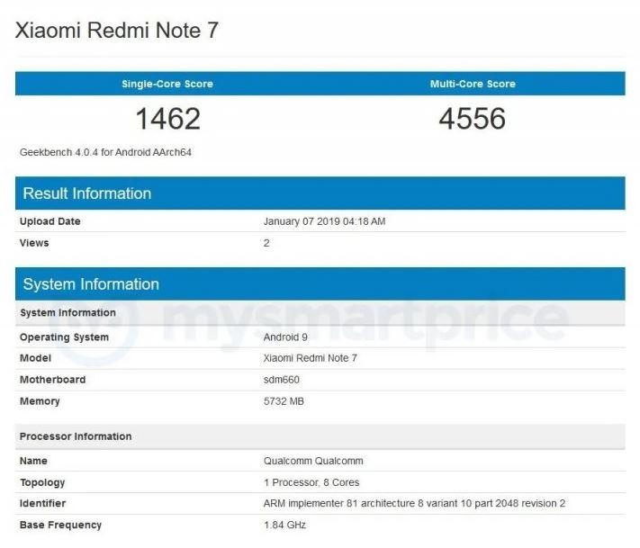 Xiaomi Redmi Note 7 on Geekbench
