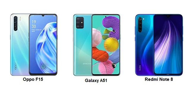 Oppo F15 vs Samsung Galaxy A51 vs Redmi Note 8 Pro