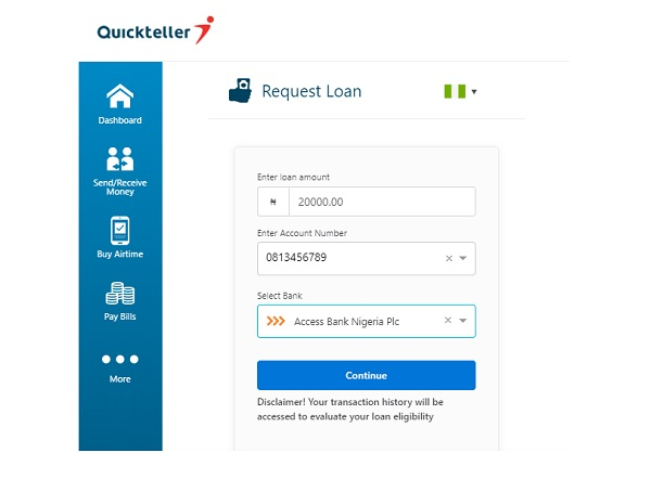 How to Request Loan From Quickteller