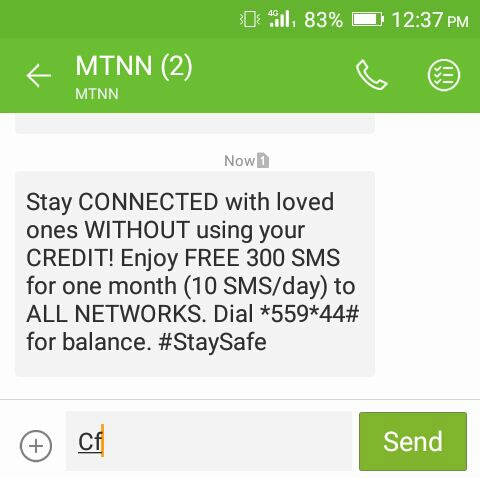 MTN giving 300 sms