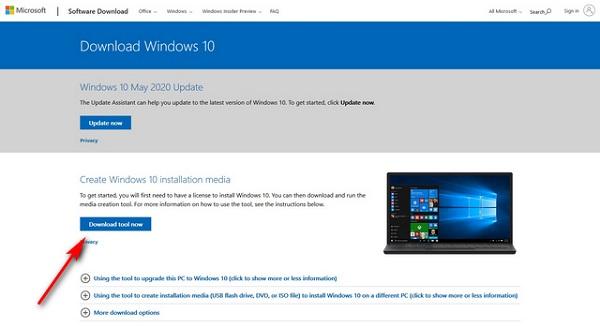 Use the Windows 10 Media Creation Tool