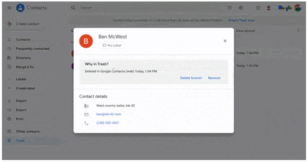 How To Recover deleted contact on Google Contact site