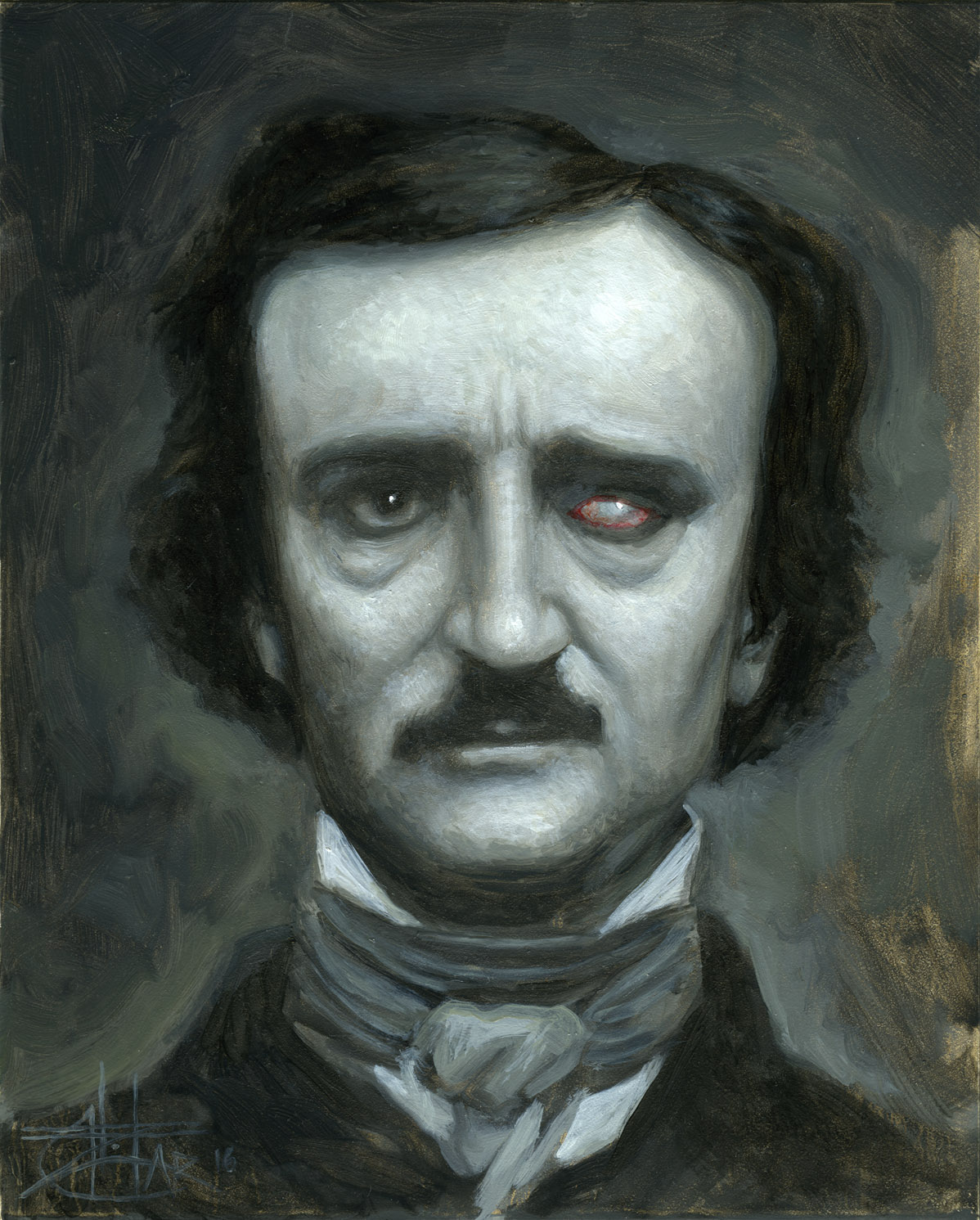 "SOLD ""The Tell Tale Poe"" — Chet Zar. 8"" x 10"" framed. Oil on panel. $1500 USD"