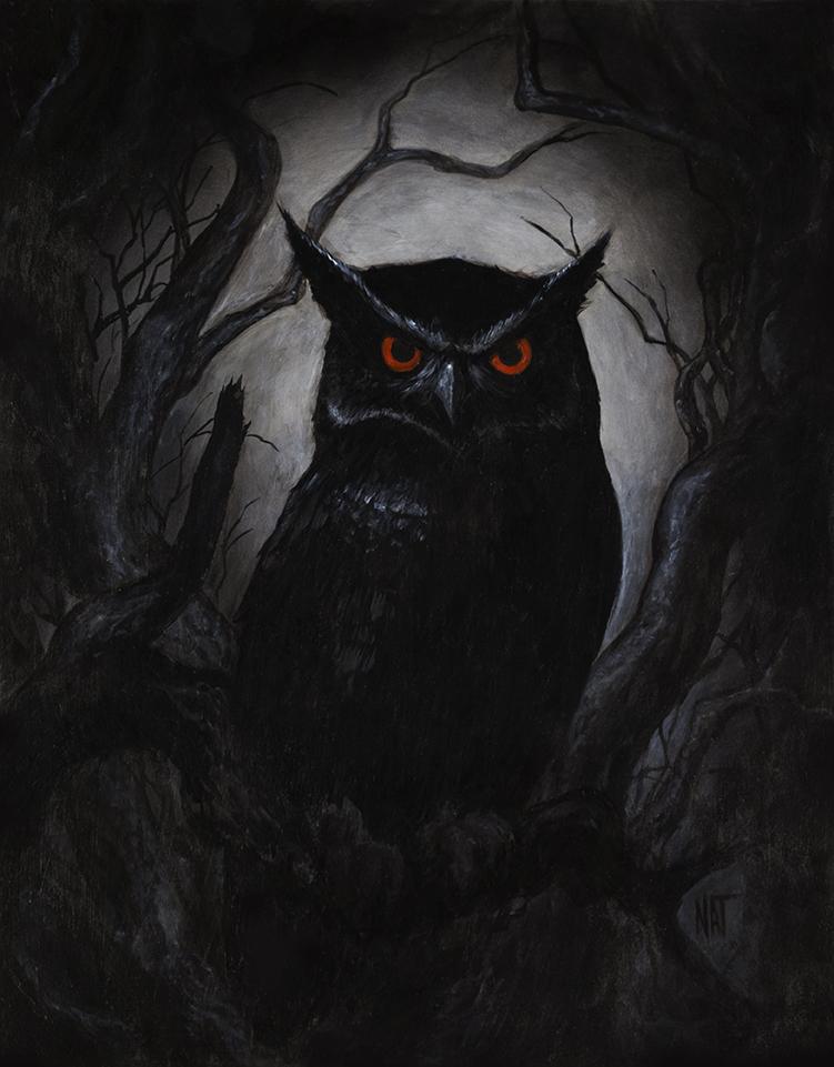 "SOLD ""Night Owl"" 14x18 acrylic on wood panel, framed. $1400.00 CAD"