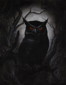 "SOLD ""Night Owl"" 14x18 acrylic on wood panel, framed. $1400.00 CAD"