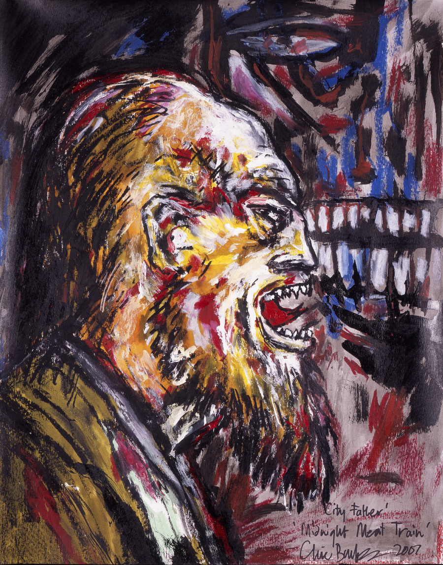 """SOLD """"City Father"""" (Midnight Meat Train Series). Oil on paper. 19""""x24"""" $4000 USD"""