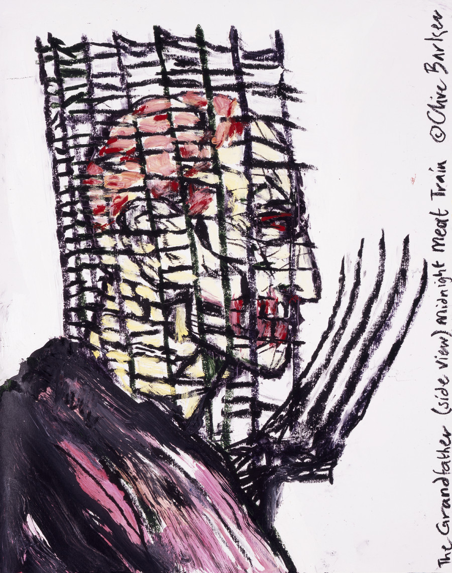 """SOLD """"The Grandfather (Side View)"""" (Midnight Meat Train Series) — Clive Barker. Oil on paper. 19""""x24"""" $4000 USD"""