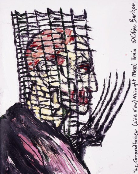 "SOLD ""The Grandfather (Side View)"" (Midnight Meat Train Series) — Clive Barker. Oil on paper. 19""x24"" $4000 USD"