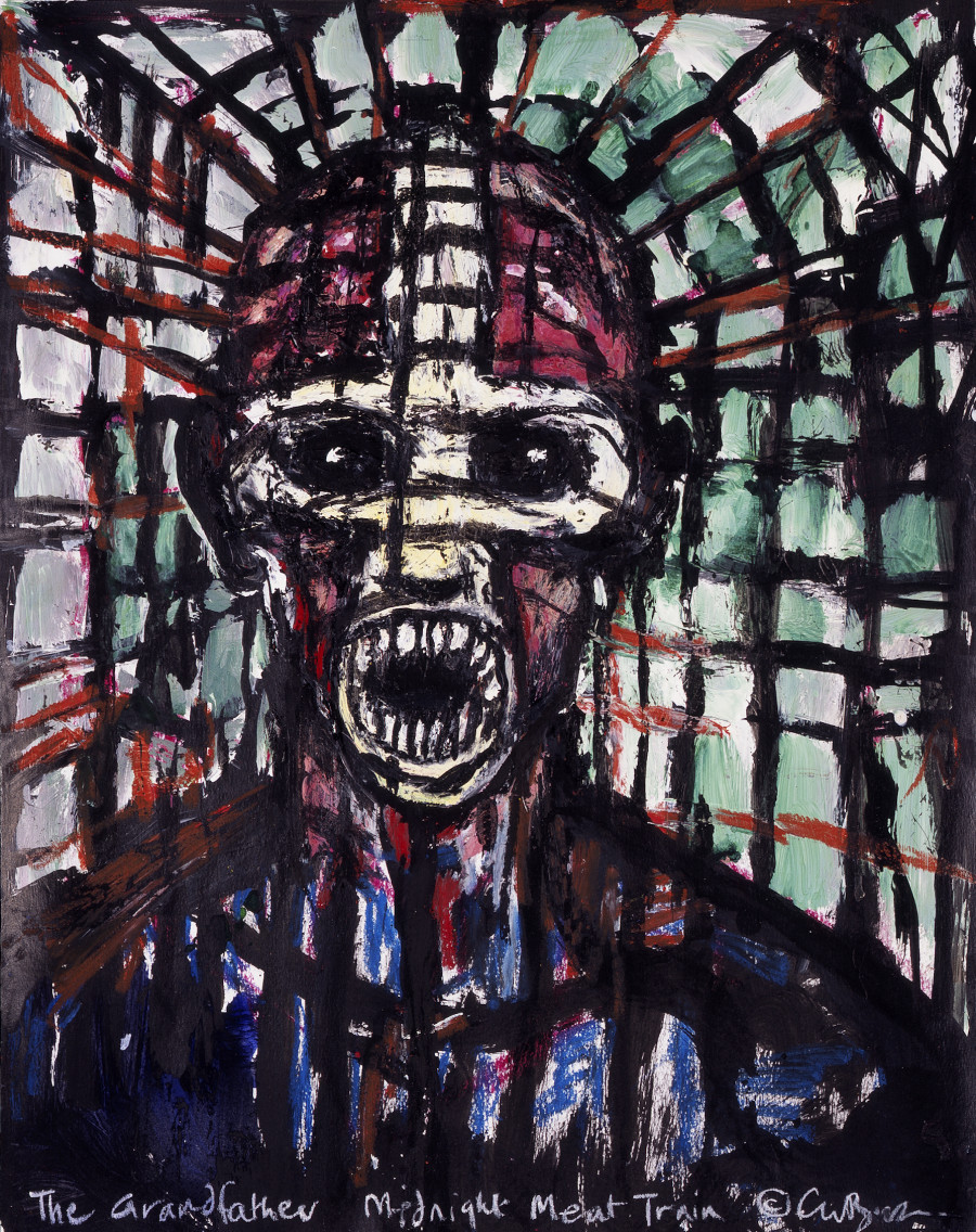 "SOLD ""The Grandfather 2"" (Midnight Meat Train Series) — Clive Barker. Oil on paper. 19""x24"" $4000 USD"