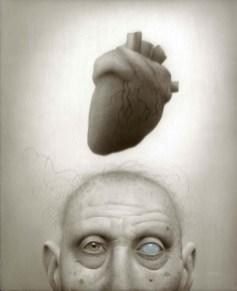 """""""Tell Tale Heart"""" — Travis Louie. 8"""" x 10"""" framed, acrylic on board. $3000 USD"""