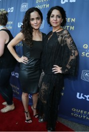 AUSTIN, TX - JUNE 9: Actors Alice Braga and Veronica Falcon at the opening night with USA's 'Queen of the South' at the 2016 ATX Television Festival at the Stephen F. Austin InterContinental Hotel on June 9, 2016, in Austin, Texas. (Photo by Jack Plunkett/Picturegroup)