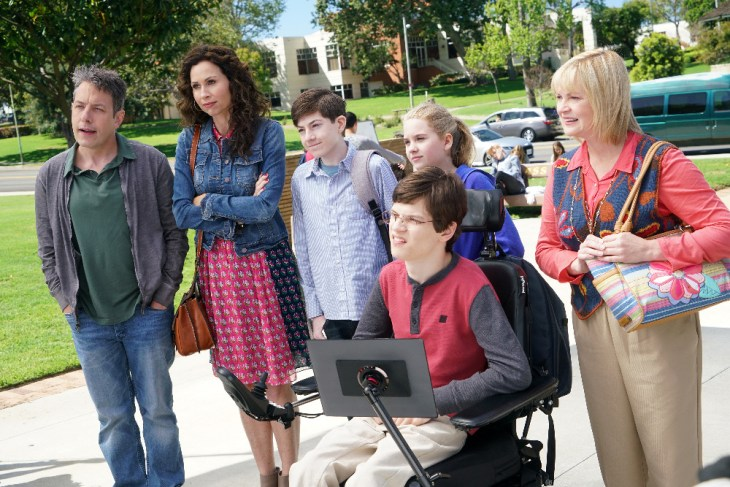 """SPEECHLESS- """"Pilot"""" - Maya DiMeo moves her family to a new, upscale school district when she finds the perfect situation for her eldest son, JJ, who has cerebral palsy. While JJ and daughter Dylan are thrilled with the move, middle son Ray is frustrated by the family's tendencies to constantly move, since he feels his needs are second to JJ Soon, Maya realizes it is not the right situation for JJ and attempts to uproot the family again. But JJ connects with Kenneth, the school's groundskeeper, and asks him to step in as a his caregiver, and Ray manages to convince Maya to give the school another chance, on the series premiere """"Speechless"""" WEDNESDAY, SEPTEMBER 21 (8:30-9:00 p.m. EDT), on the ABC Television Network. (ABC/Adam Taylor)"""