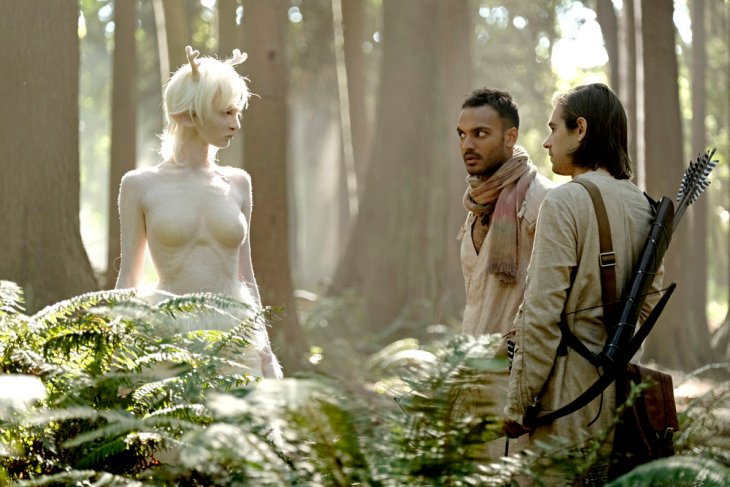 """THE MAGICIANS -- """"The Flying Forest"""" Episode 204 -- Pictured: (l-r) Emma Dumont as The White Lady, Arjun Gupta as Penny, Jason Ralph as Quentin -- (Photo by: Eike Schroter/Syfy)"""