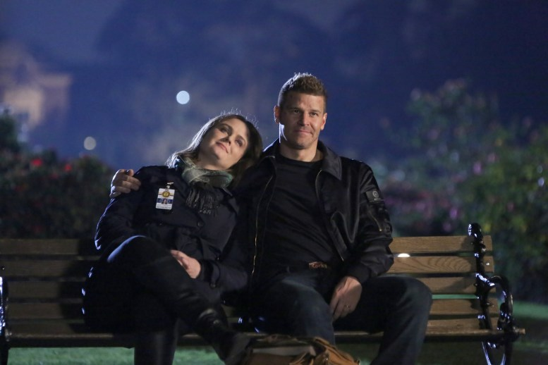 """BONES: L-R: Emily Deschanel and David Boreanaz in """"The Final Chapter: The End in the End"""" series finale episode of BONES airing Tuesday, March 28 (9:01-10:00 PM ET/PT) on Fox. ©2017 Fox Broadcasting Co. Cr: Patrick McElhenney/FOX"""