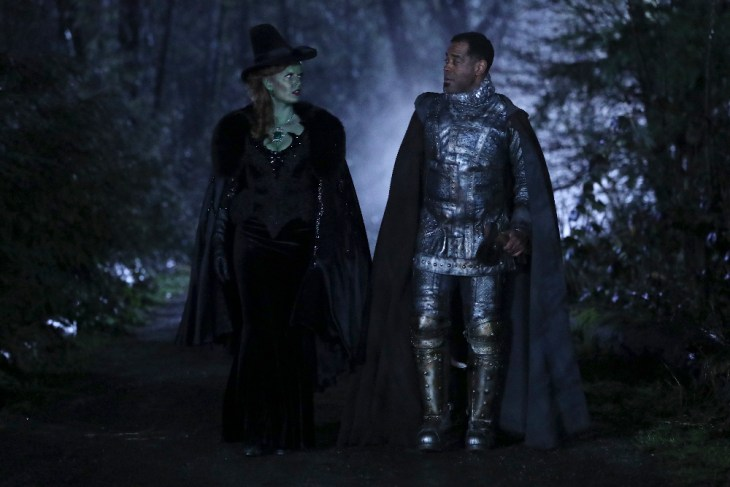 "ONCE UPON A TIME - ""Where Bluebirds Fly"" - In flashback, Zelena befriends a young woodcutter who has been cursed and turns to her for help finding a new heart. Zelena is forced to choose between keeping her powers and her friendship with him. Meanwhile, in Storybrooke, Zelena decides to take on the Black Fairy and put a stop to her, once and for all, against Regina's wishes, and the Charmings disagree over Emma and Hook's wedding plans, on ""Once Upon a Time,"" SUNDAY, APRIL 23 (8:00-9:00 p.m. EDT), on The ABC Television Network. (ABC/Jack Rowand)"