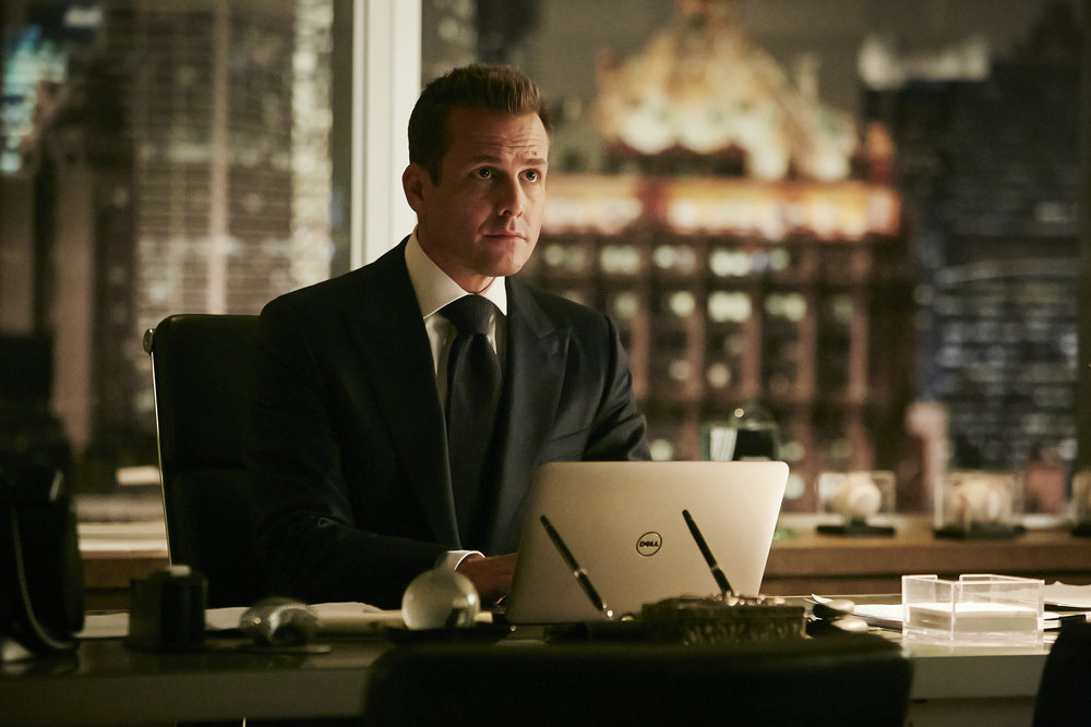 "SUITS -- ""Spain"" Episode 606 -- Pictured: Gabriel Macht as Harvey Specter -- (Photo by: Ian Watson/USA Network)"