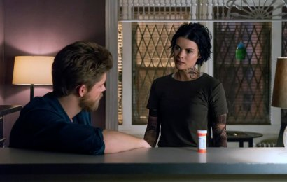 "BLINDSPOT -- ""Regard A Mere Mad Rager"" Episode 219 -- Pictured: (l-r) Luke Mitchell as Roman, Jaimie Alexander as Jane Doe -- (Photo by: Barbara Nitke/NBC)"