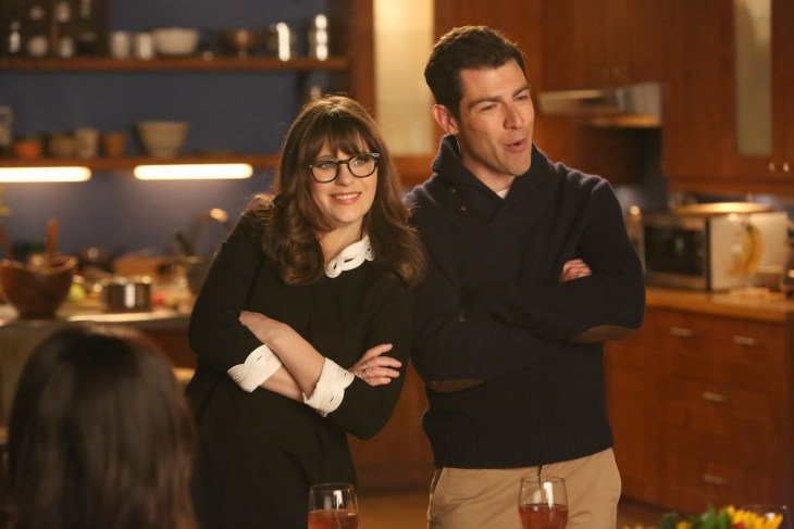 "NEW GIRL: L-R: Zooey Deschanel and Max Greenfield in the ""Rumspringa"" episode of NEW GIRL airing Tuesday, Feb. 21 (8:00-8:31 PM ET/PT) on FOX. ©2017 Fox Broadcasting Co. Cr: Patrick McElhenney/FOX"