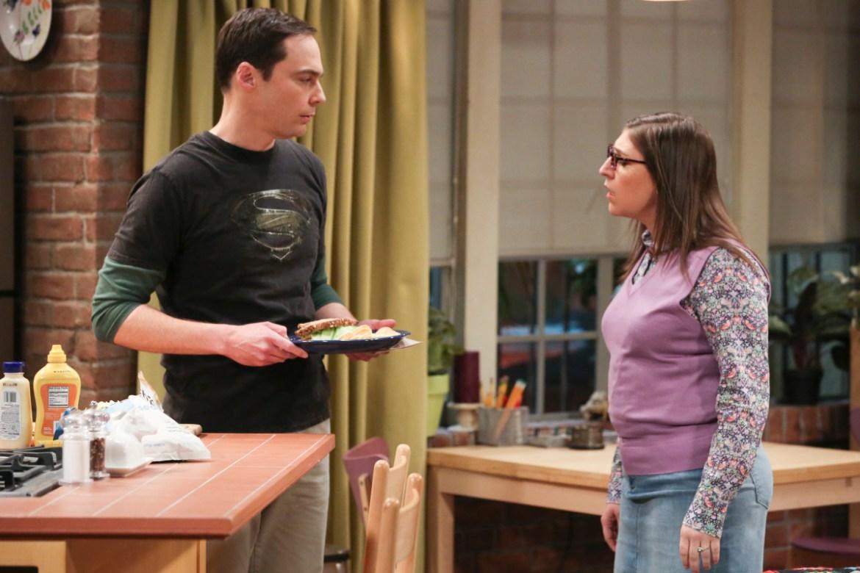 "The Big Bang Theory ""The Novelization Correlation"" -- Pictured: Sheldon Cooper (Jim Parsons) and Amy Farrah Fowler (Mayim Bialik)"