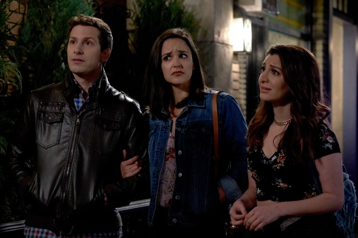 """BROOKLYN NINE-NINE: L-R: Andy Samberg, Melissa Fumero and guest star Nasim Pedrad in the second part of the special one hour """"NutriBoom/DFW"""" episode of BROOKLYN NINE-NINE airing Sunday, April 15 (8:30-9:30 PM ET/PT) on FOX. CR: FOX"""