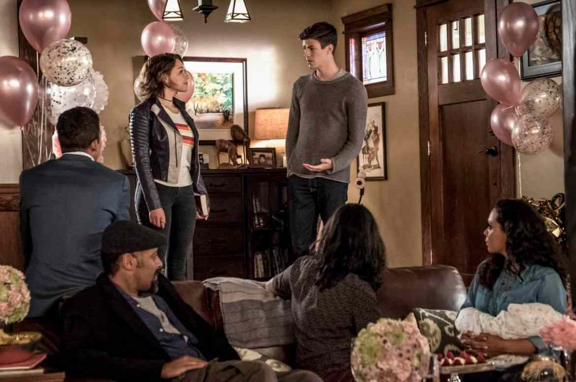 The Flash Season 5 Episode 1 - Jessica Parker Kennedy as Nora West - Allen and Grant Gustin as Barry Allen