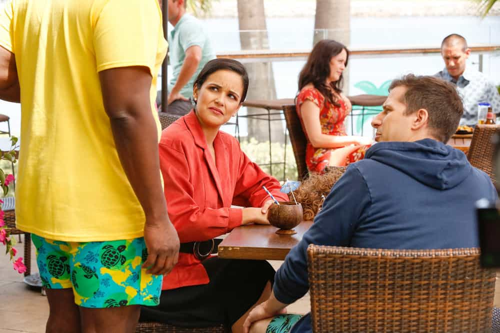 Brooklyn Nine-Nine Season 6 Episode 1 - Melissa Fumero as Amy Santiago, Andy Samberg as Jake Peralta