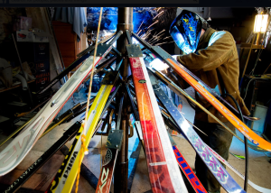Anton Viditz-Ward welds Telluride's holiday ski tree. Photo by Brett Schreckengost.