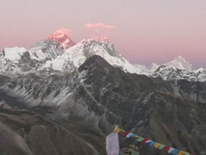 Prayer flags and mountains - the top of the world