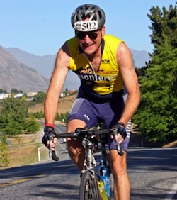 Steve Blum doing Ironman distance triathlon in Wanaka, New Zealand
