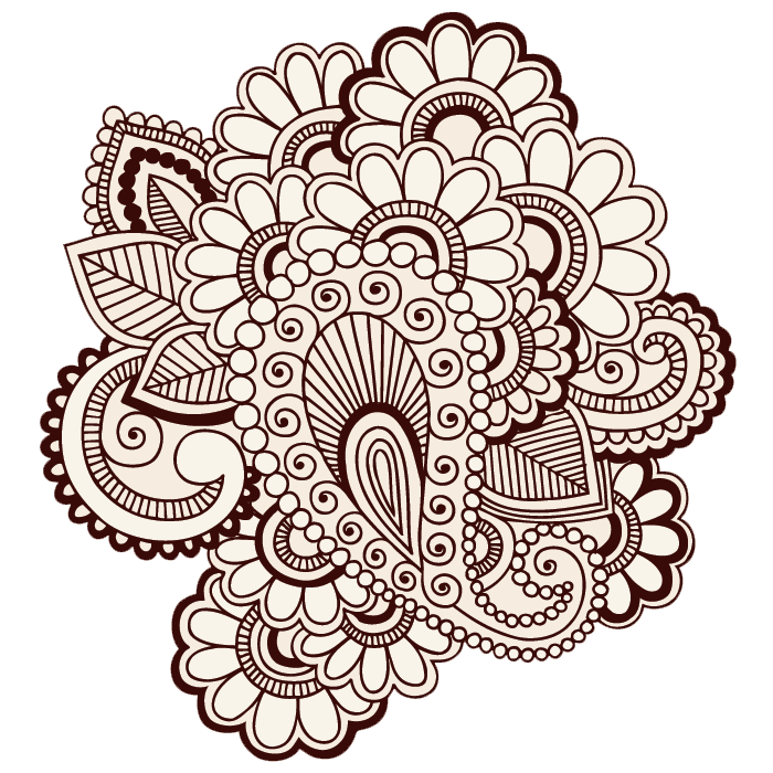 henna inspired flowers colouring