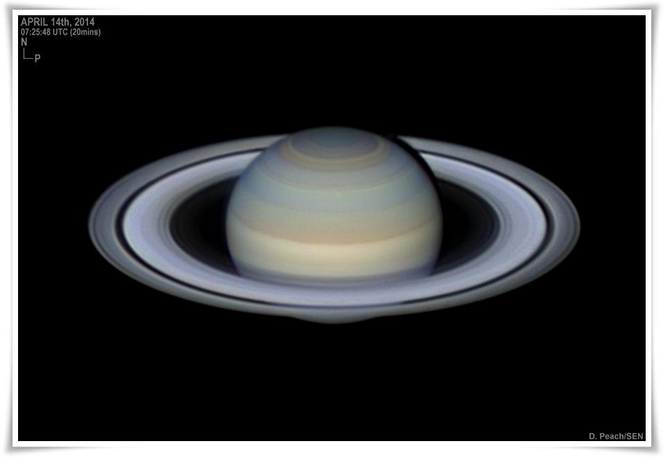 Saturn el dia 14 d'abril de 2014, per Damian Peach