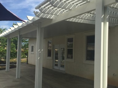 Solid and latticed patio cover combination in Murrieta McCabe's Landscape Construction