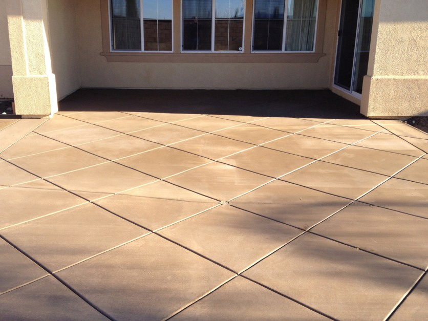 Diamond patterned concrete in Temecula McCabe's Landscape Construction