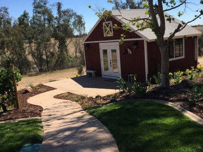 Barn with concrete sitting area in Wine Country Temecula McCabe's Landscape Construction
