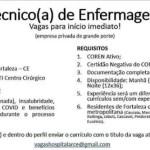 TÉCNICO (A) DE ENFERMAGEM (32 VAGAS – ENVIAR CV ATÉ 05/06/20) – FORTALEZA/CE