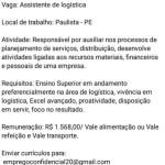ASSISTENTE DE LOGÍSTICA – PAULISTA/PE