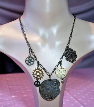 Steampunk clock and cog charm necklace
