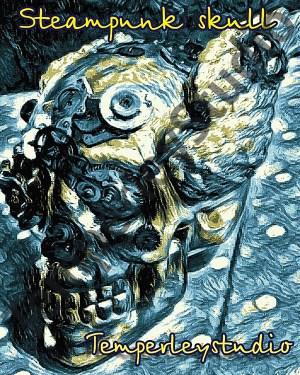 Steampunk skull Gogh style