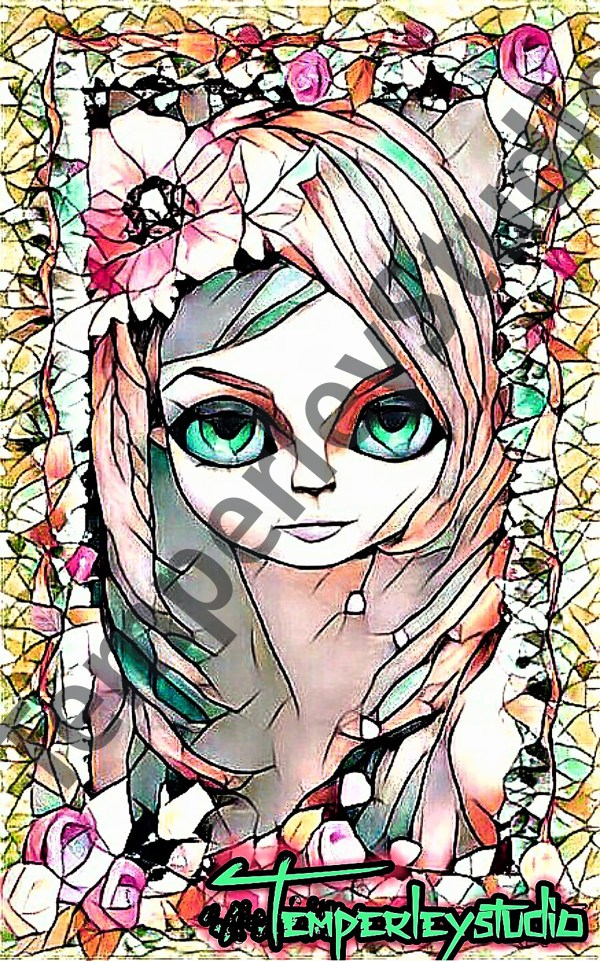 Doll stain glass effect and frame