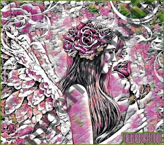 Shabby chic angel and rose