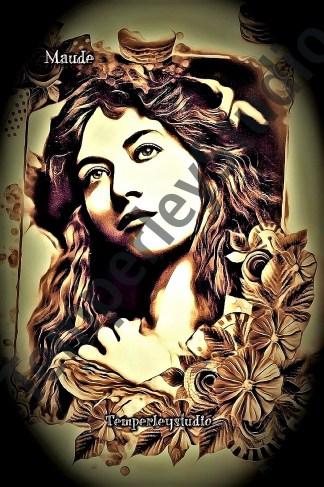 Victorian starlet in serene gaze