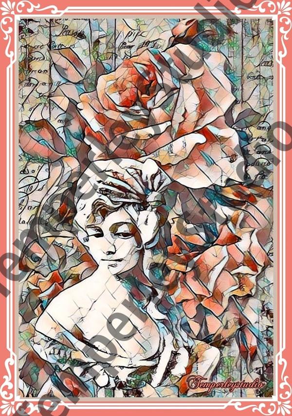 Victorian Lolita shabby stain glass girl