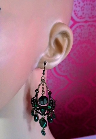 Gothic Steampunk green jewelled chandelier earrings